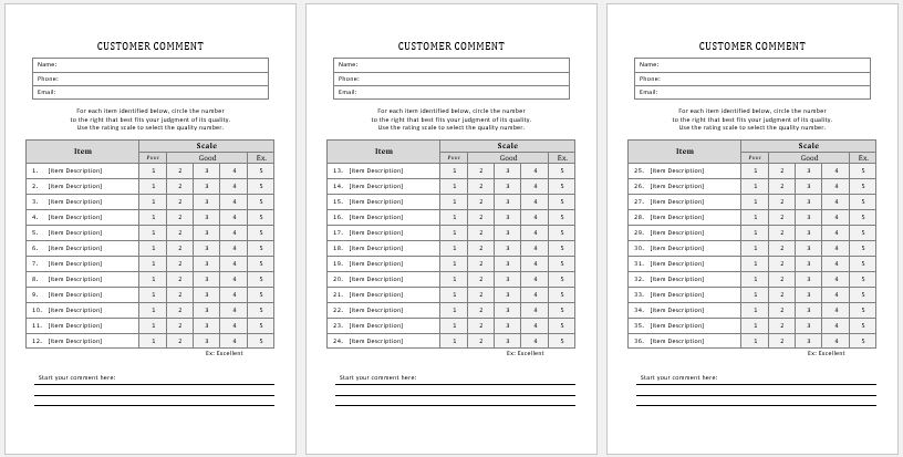 Customer Comment Cards Templates Ms Word Word Amp Excel