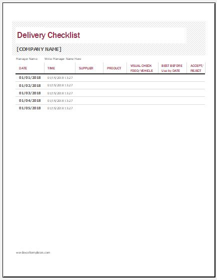 delivery checklist template