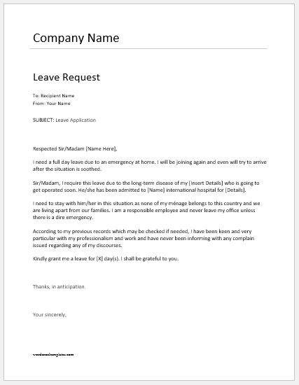 Employee Leave Request Letter Templates  Word  Excel Templates