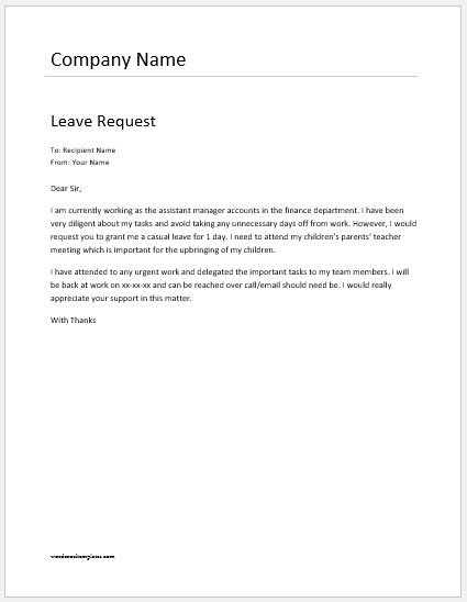 Employee Leave Request Letter Templates | Word & Excel Templates