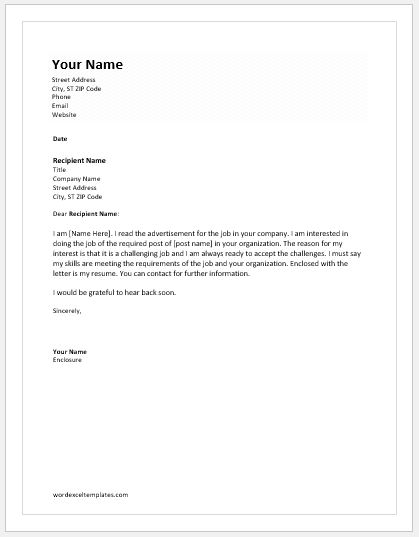 Letter Of Intent For A Job Templates  Word  Excel Templates