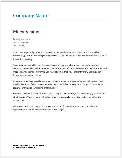 Memo On Failure To Follow Instructions Word Excel Templates