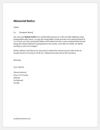 Death Notice Templates for MS Word | Word & Excel Templates