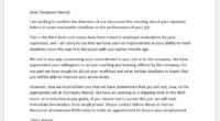 Disciplinary action letter for failure to meet deadlines