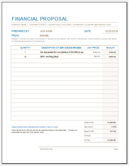 financial proposal form templates for excel