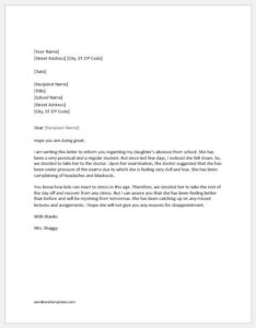Absence excuse letter to school for illness