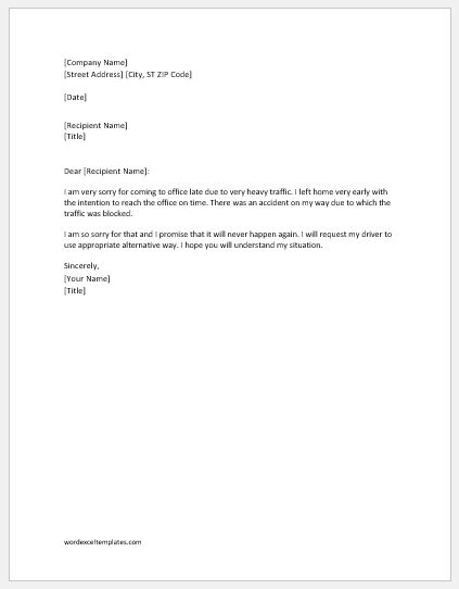 Explanation letter for tardiness due to transportation