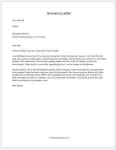 Grievance Letter against supervisor
