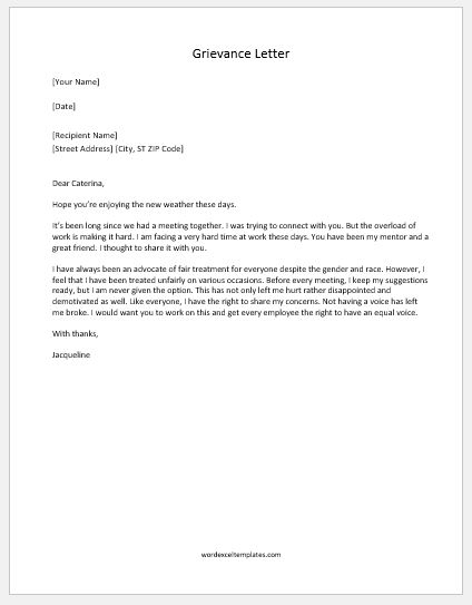 Letter of complaint to employer unfair treatment timiz letter of complaint to employer unfair treatment grievance letter to employer template spiritdancerdesigns Images