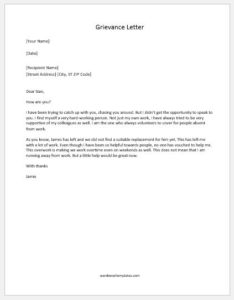 Grievance Letter to employer for workload