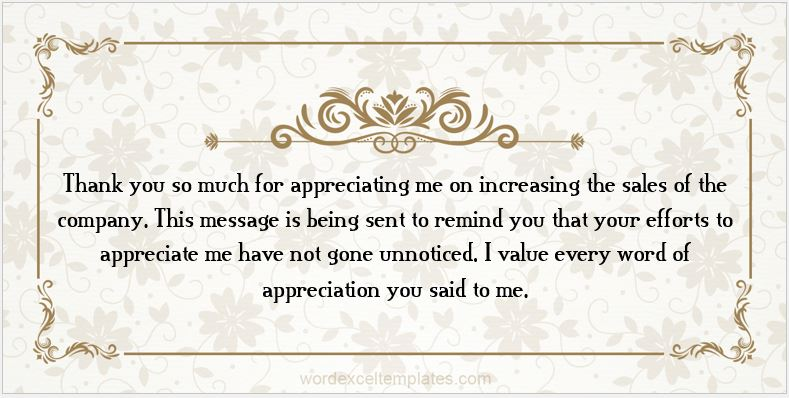 Thank you message for appreciation