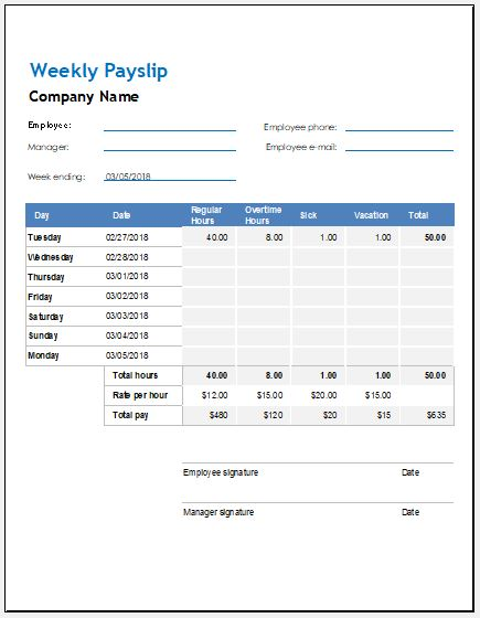 Weekly Biweekly  Monthly Payslip Templates  Word  Excel Templates