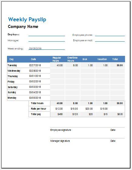 Weekly, Biweekly & Monthly Payslip Templates | Word & Excel