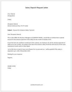 Advance salary deposit request letter