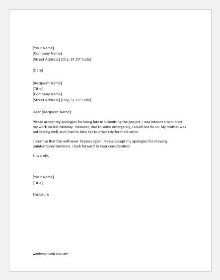 excuse letter for late submission of project apology letter for late of project word 27880