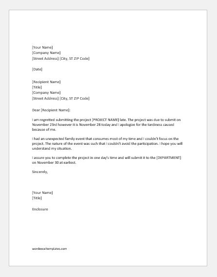 Apology Letter for Late Submission of Project | Word & Excel