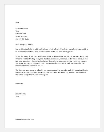 Apology letter for being late to class