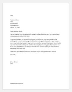 Apology letter for being late to college