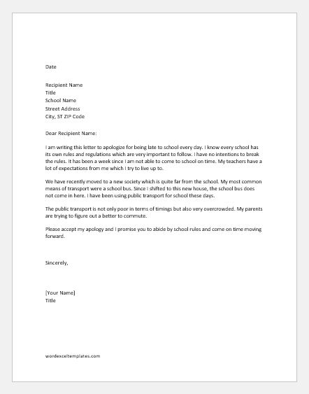 excuse letter for being late apology letters for being late to various situations 22362 | Apology letter for being late to school
