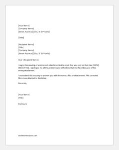 Apology letter for sending a wrong attachment