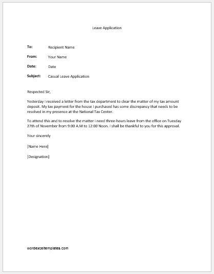 Casual leave application from the office