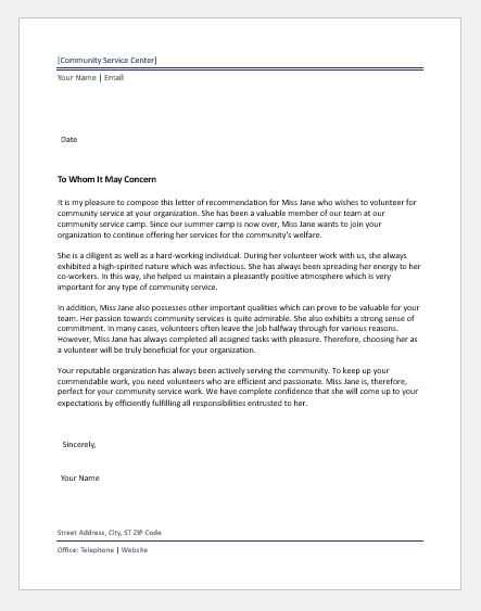 Community Service Letter of Recommendation | Word & Excel Templates