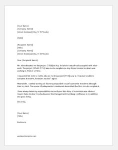 Explanation letter for late submission of project
