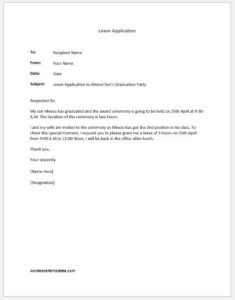 Leave application to attend sons graduation party
