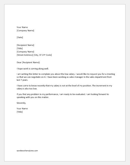 Low salary complaint letter to boss word excel templates low salary complaint letter spiritdancerdesigns
