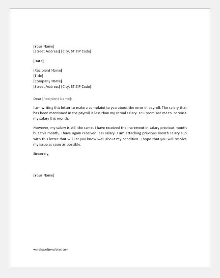 Payroll error letter to employer