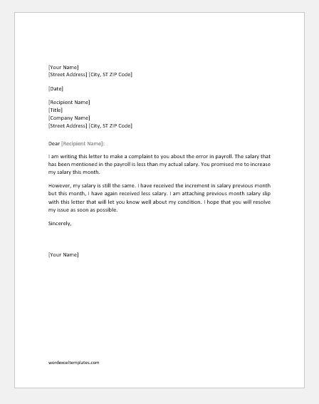 Payroll error letter to employer
