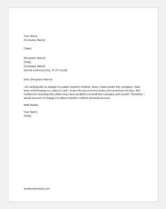 Request Letter to Change Salary Transfer Method