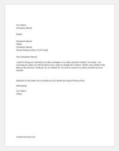 Request Letter to Change Salary Transfer Method via Bank