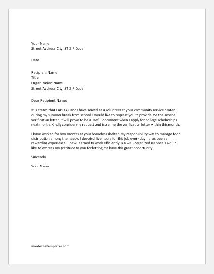 Request to issue community service verification letter