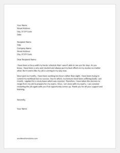 Resignation Letter for exam preparation