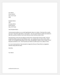 Resignation letter due to delay in salary