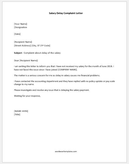 Salary Delay Complaint Letter Samples | Word & Excel Templates