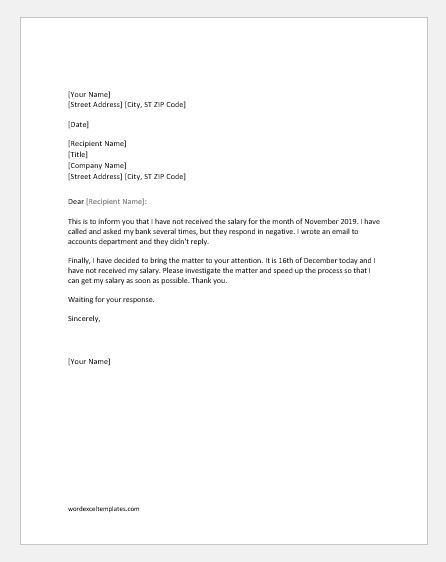 Salary not Received Complaint Letter to Boss