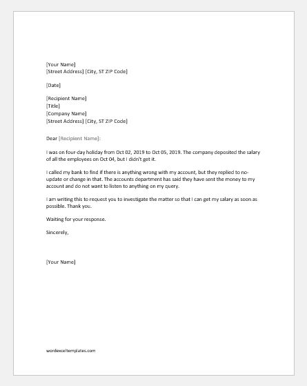 Salary not received complaint letter to boss word excel templates complaint letter for salary not received thecheapjerseys Choice Image