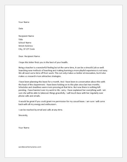 Teacher Casual Leave Application to Principal