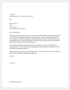 Breach of contract complaint letter