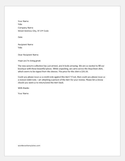 Debit note rejection letter