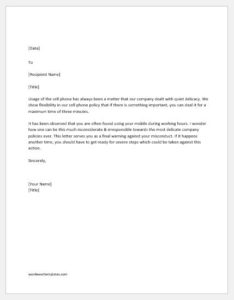 Disciplinary action letter for misconduct