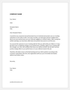Final warning letter before dismissal