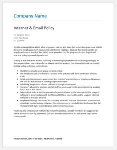 Internet and email policy to employees