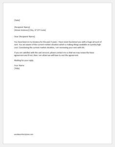 Lease renewal letter with rent increase