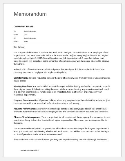 Memo to Staff about Duties & Responsibilities | Word & Excel