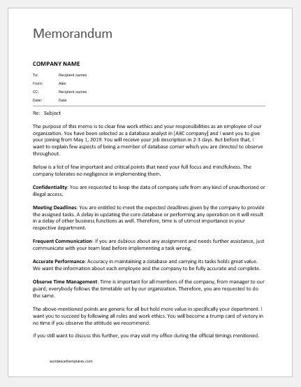 memo to staff about duties  u0026 responsibilities