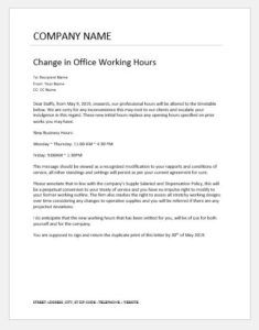 Office Hours Change Notification to Employees