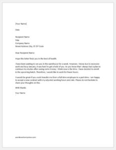 Request letter to reduce working hours